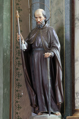 Saint Anthony the Hermit, statue on the altar in the Saint Eliah church in Lipnik, Croatia