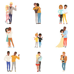 Set of hugging people in different poses. Sisters, brothers, couples in love, friends, father and child. Cartoon characters with happy faces. Flat vector design