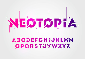 Vector illustration abstract technology neon font and alphabet. techno effect logo designs. Typography digital space concept.