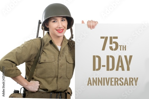 young woman dressed in us wwii military uniform with helmet
