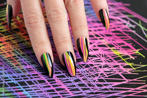 Colorful Bright Manicure With Different Sharp Shape Of Nails Framed