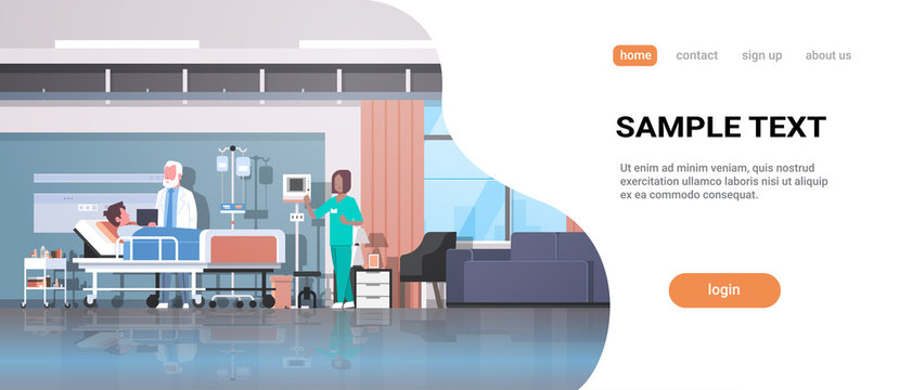 doctor and nurse visiting patient man lying bed with dropper intensive therapy ward healthcare concept hospital room interior modern medical clinic horizontal full length copy space