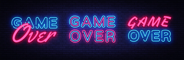 Poster Positive Typography Game Over neon signs set design template. Big Collection Game Over neon text, light banner design element colorful modern design trend, night bright advertising, bright sign. Vector illustration
