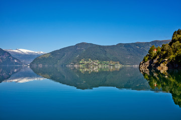 Beautiful Nature Norway natural landscape with fjord and mountain.