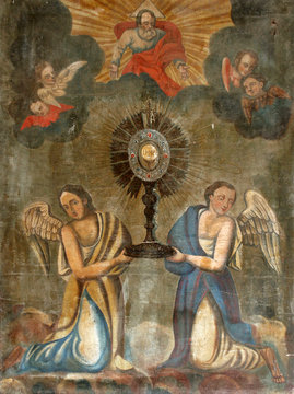 Eucharistic adoration monstrance with the Blessed Sacrament, with angels, altarpiece in Church of Birth of Virgin Mary in Svetice, Croatia