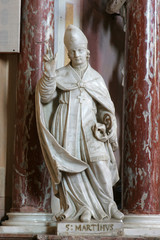 Saint Martin, statue on the altar of Saint Michael in Church of Assumption of Virgin Mary in Zakanje, Croatia