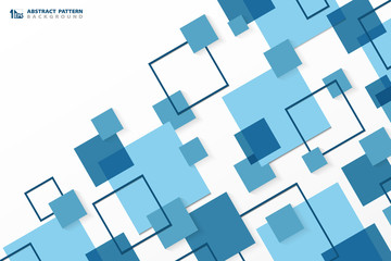 Abstract technology modern blue square geometric pattern background. You can use for ad, poster, corporate presentation, annual report, cover design.