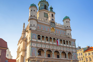 Architecture of the City Hall at main square in Poznan, Poland.