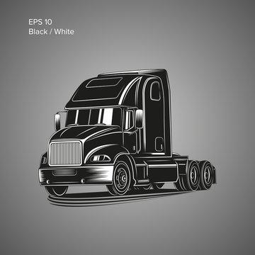 Modern american truck vector illustration. Heavy transport picture