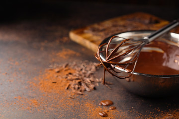 Homemade chocolate cream with whisk