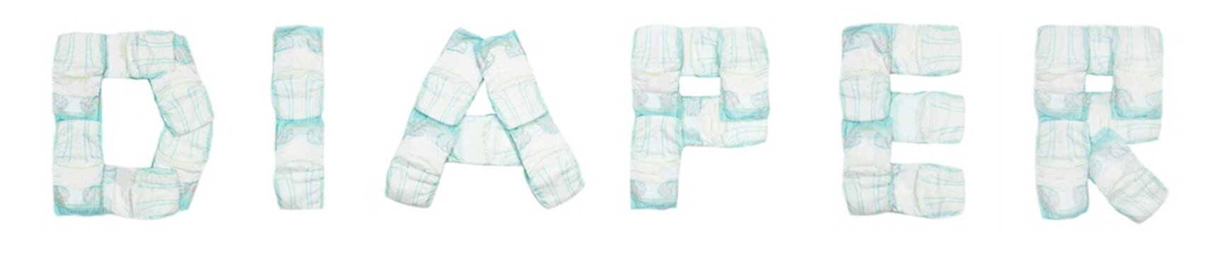 Word diaper laid out baby diapers on a white background, isolate, napkin, inscription