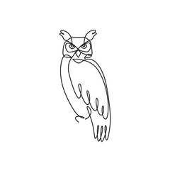 Drawing a continuous line. Owl on white isolated background