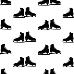 Vector illustration. Woman figure Skates icon isolated on white background. Seamless skates pattern