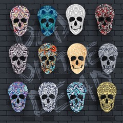 Set skull for the illustrations concept on day of the dead. Vector template colorful abstract decorative ornament design