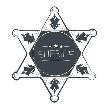 Sheriffs Star Isolated on White Background. Vector Illustration.