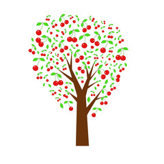 Cherry tree. Summer tree with berries. vector illustration