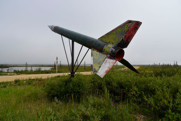 old rocket in landscape near churchill, manitoba. In former days used for sience.