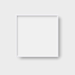 Realistic square empty picture frame, 3d style vector