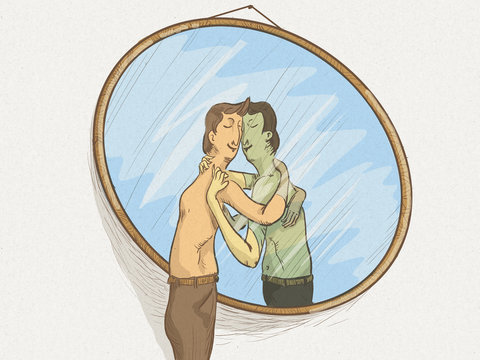 Illustration of a man in the mirror in love with himself in a self-sexual attitude