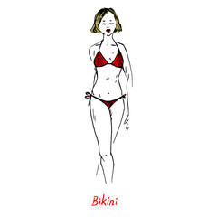 Portrait of sexy retro pin up girl in red bikini type of swimsuit with inscription, hand drawn outline doodle, sketch in pop art style, vector illustration
