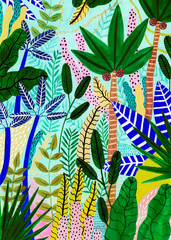 Colorful Tropical Jungle Illustration