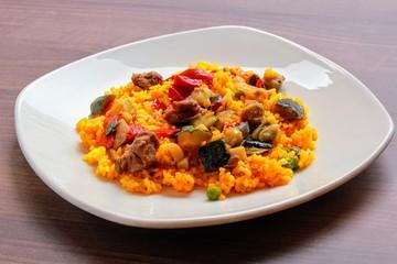 Paella valenciana de verduras