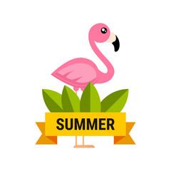 cartoon flamingo vector label