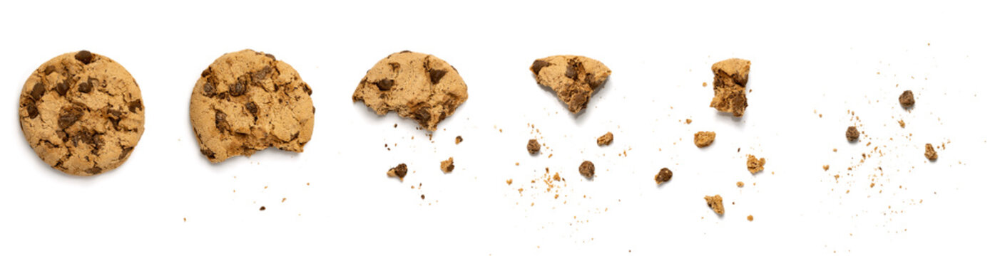 Different stages of eaten cookie isolated on white background