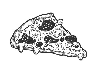 Slice of pizza sketch engraving vector illustration. Scratch board style imitation. Hand drawn image.