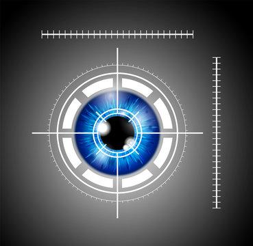 blue eyeball with laser target