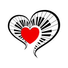 isolate big symbol of love music. vector