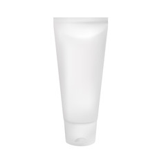 3d vector plastic tube with cap for cosmetics, toothpaste, medicine creme,  lotion etc. Front side view. Realistic package solated on white background. EPS 10.