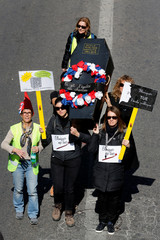 French school teachers demonstrate against French Education minister Blanquer's law  as part of a protest against the French government's reforms in Marseille
