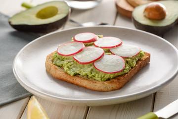 Toast with mashed avocado