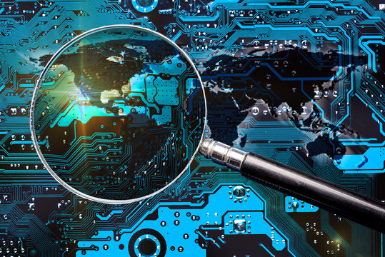 Blue circuit board, world map and magnifier glass. Investigation for global cybersecurity. Elements of this image furnished by NASA.