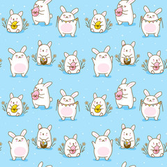 Seamless Easter pattern with cute rabbits