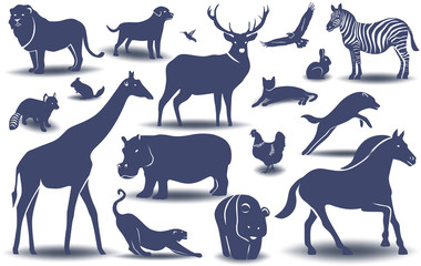 Silhouette of different animals, styling,  vector illustration