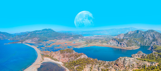"Panoramic view of iztuzu beach with full moon - Dalyan, Turkey ""Elements of this image furnished by NASA """