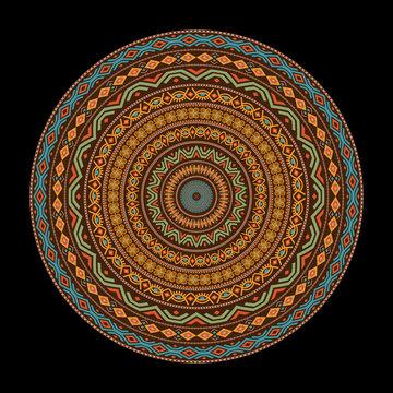 African round mandala with adinkra symbols. Antique pattern. Vector illustration.