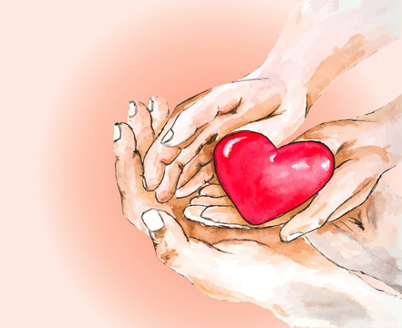 watercolor drawing adult and child hands holding red heart, Vector illustration, donate and family insurance concept,world heart day, world health day, CSR concept