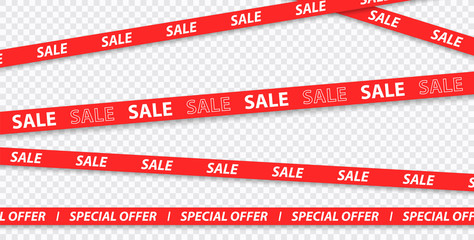 Big sale, discount, mega sale, special offer, red and yellow tapes isolated on transparent background. Vector illustration.
