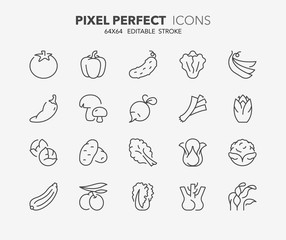 vegetables thin line icons 2