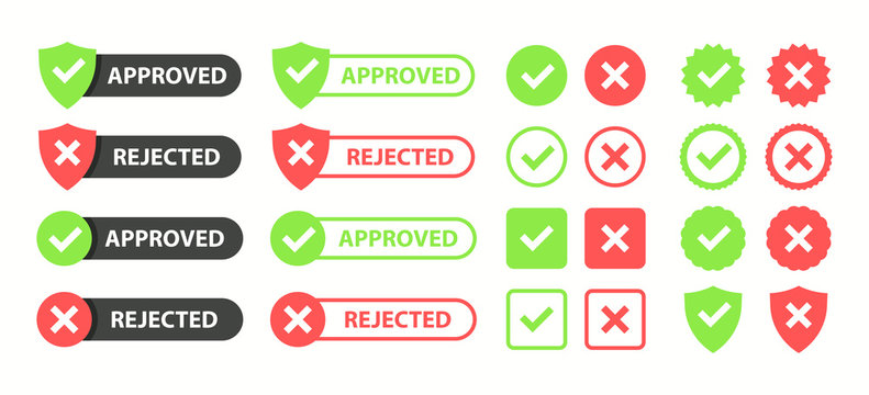 Approved and rejected set. Approved or Certified icon. Green approval sign vector with check mark. Vector illustration.