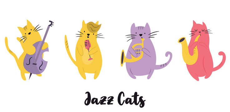 Jazz band of cats playing musical instruments