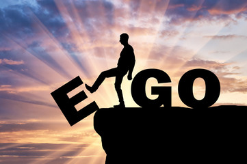 Silhouette of a man gets rid of the ego as a bad habit