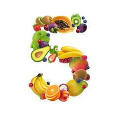 Number five made of different fruits and berries, fruit alphabet isolated on white background