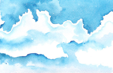 Watercolor background blue sky with blue and white clouds