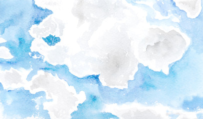 Hand drawn watercolor background soft blue sky with clouds