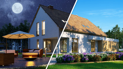 Einfamilienhaus bei Tag und Nacht Wall mural