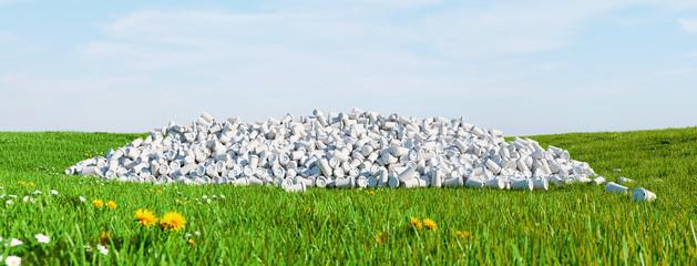 Umweltverschmutzung durch Plastikmüll auf Wiese
